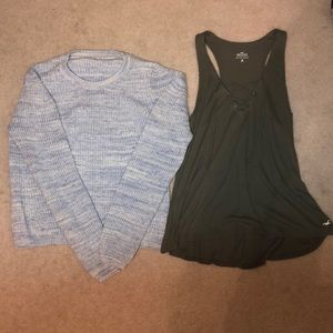 hollister sweater and tank top